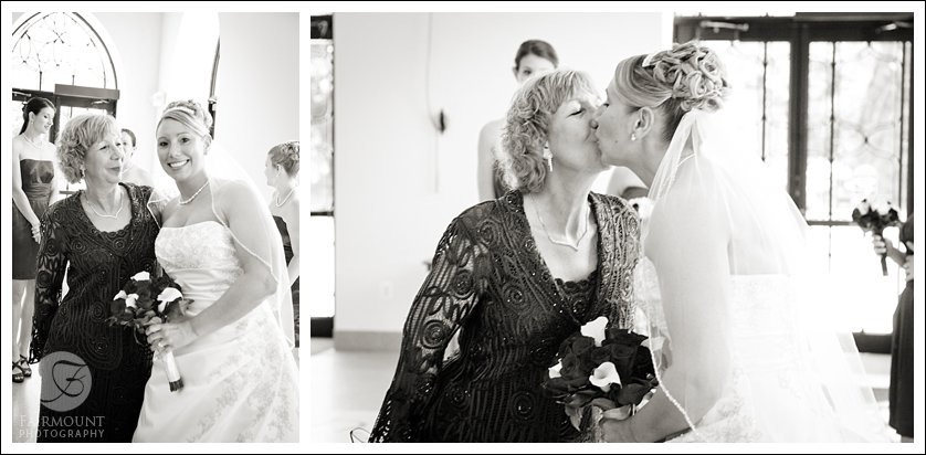 Bride gets a kiss from her mother