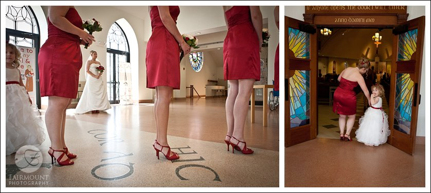 bridesmaids in red dresses lined up to enter church