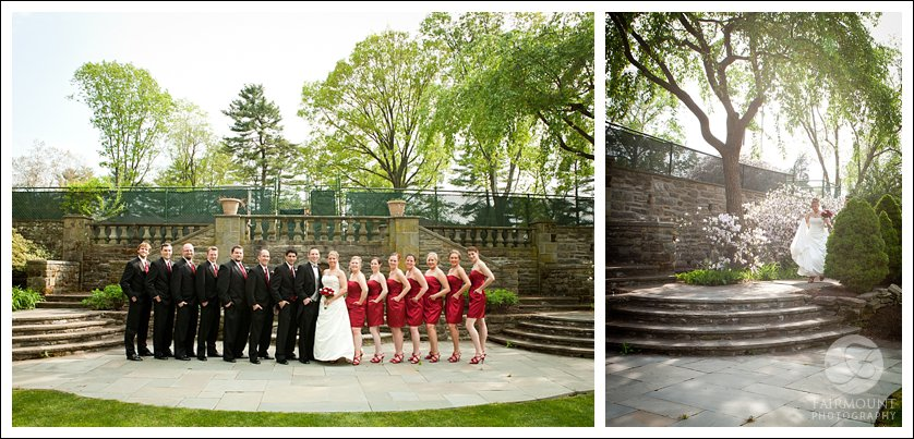 Formal bridal party portrait at Meadowlands Country Club in Blue Bell, PA