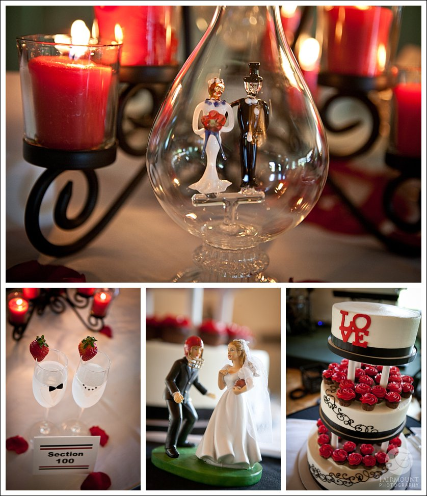 red and black wedding colors details