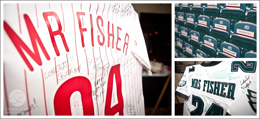 Phillies jersey and Eagles jersey as wedding guest book
