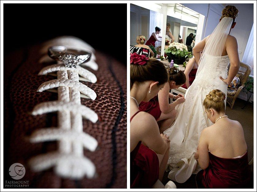 wedding rings on football