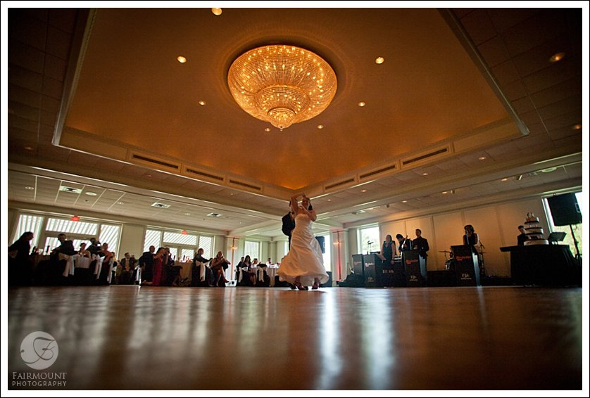 Dance floor at Meadowlands Country Club with giant chandelier