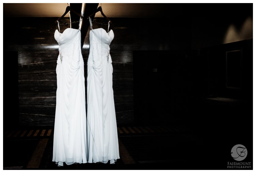 wedding dress reflection at Loews hotel in Center City