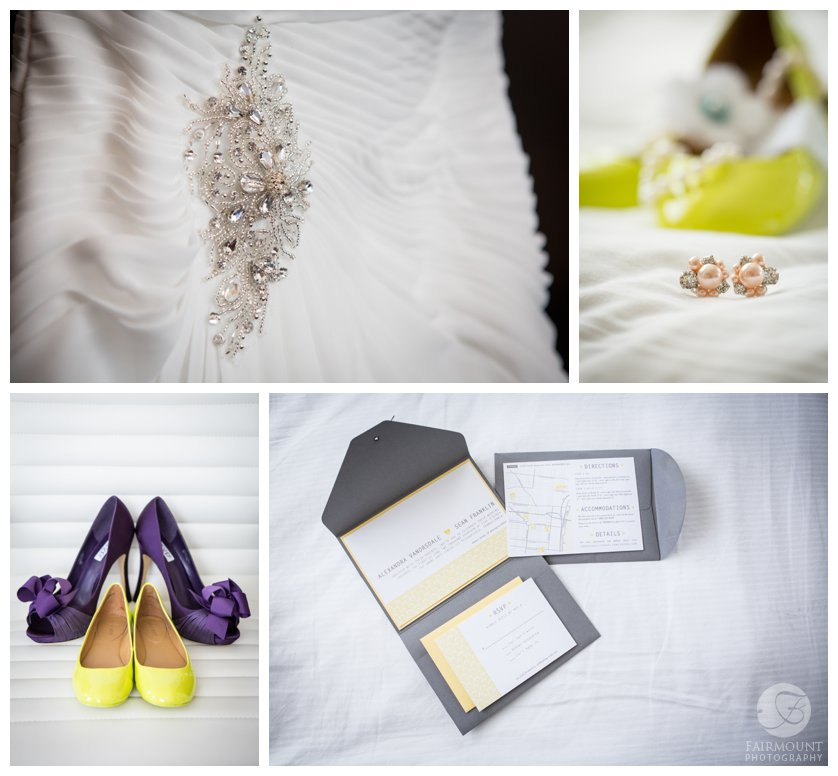lime, yellow and gray wedding details, invitation and bride's shoes