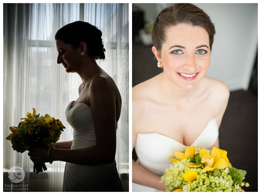 silhouette of bride, bride holds yellow wedding bouquet