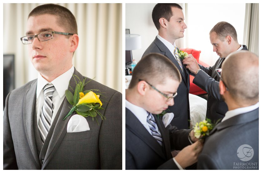 groom with yellow calla boutonniere