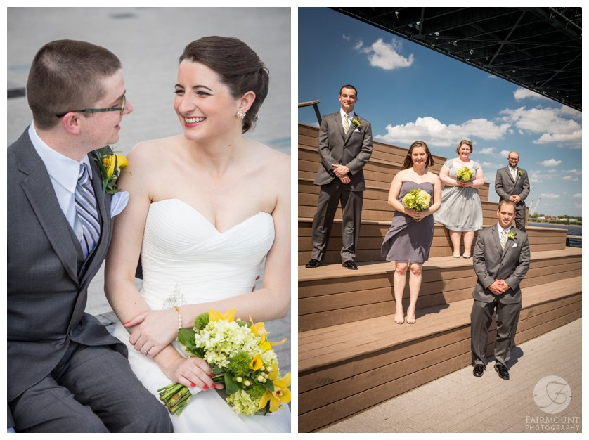 bridal party portraits at Race Street Pier