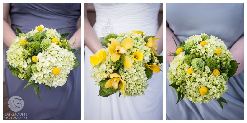 yellow wedding bouquets with yellow calla lillies and white hydrangea with gray bridesmaid dresses
