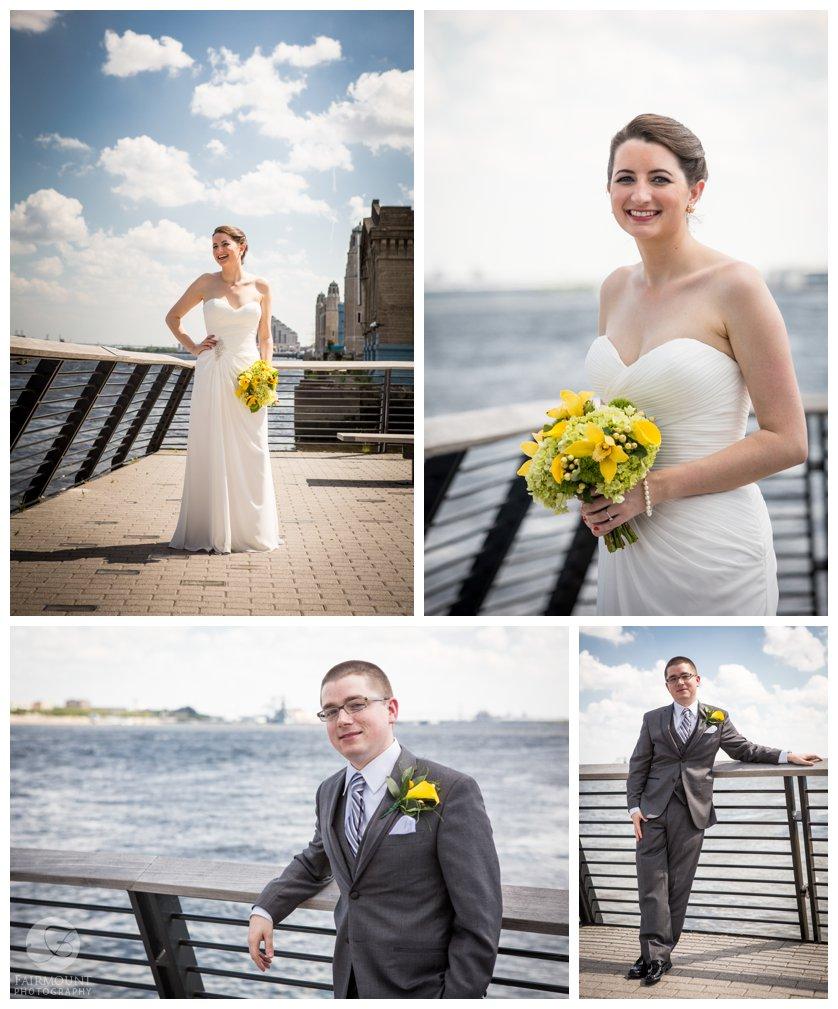 bridal portrait on Race Street Pier, groom's portrait on Race Street Pier
