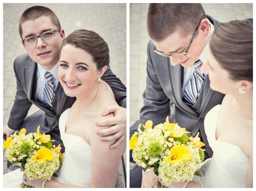 bride & groom cuddle during wedding portraits in Philadelphia