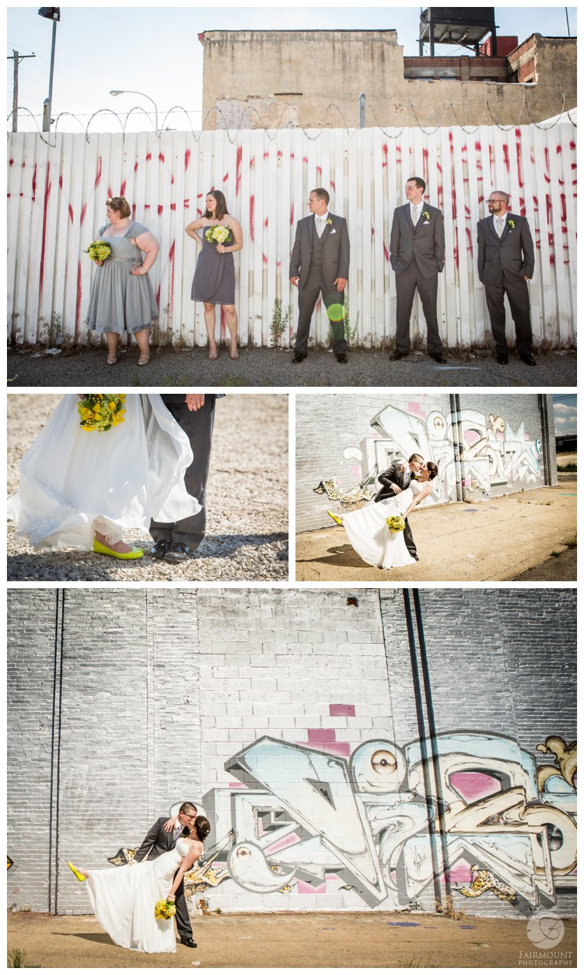 grungy bridal portraits in North Philly