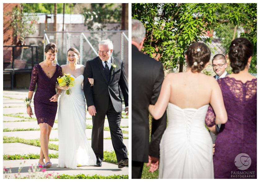 mom and dad walk bride down the aisle for summer wedding at Crane Arts