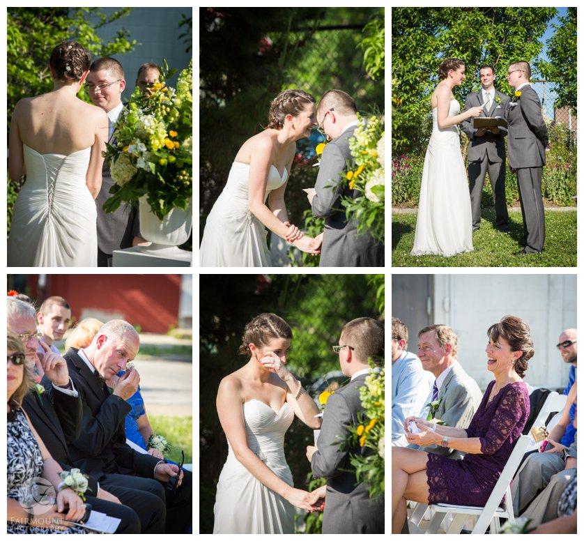 Garden wedding in North Philadelphia at the Crane Arts center