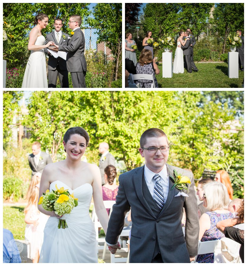 yellow and green wedding colors for spring wedding at Crane Arts