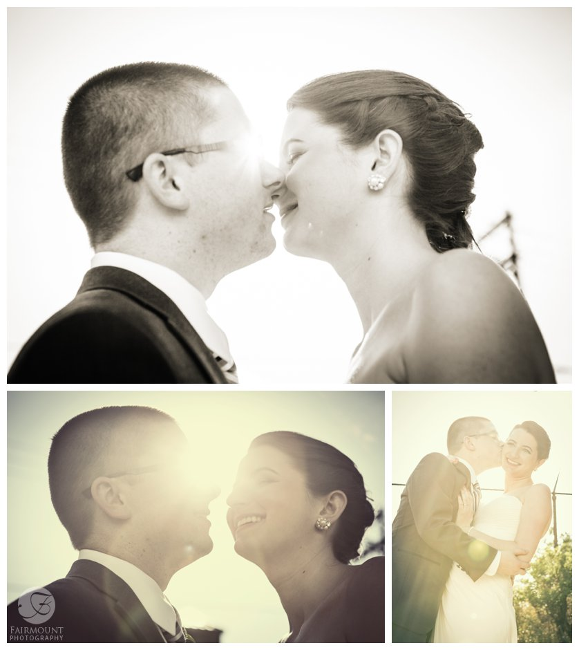 artistic portraits of bride & groom with sun glare