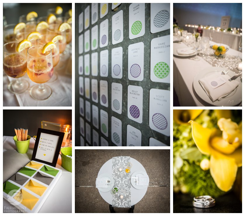 lemon and lime wedding colors for reception in the Ice Box at Crane Arts