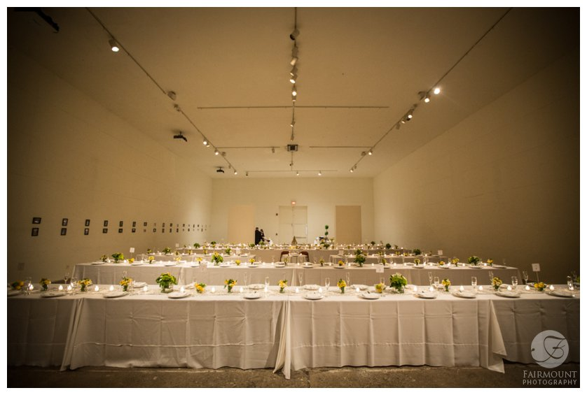 Ice Box reception room with long tables