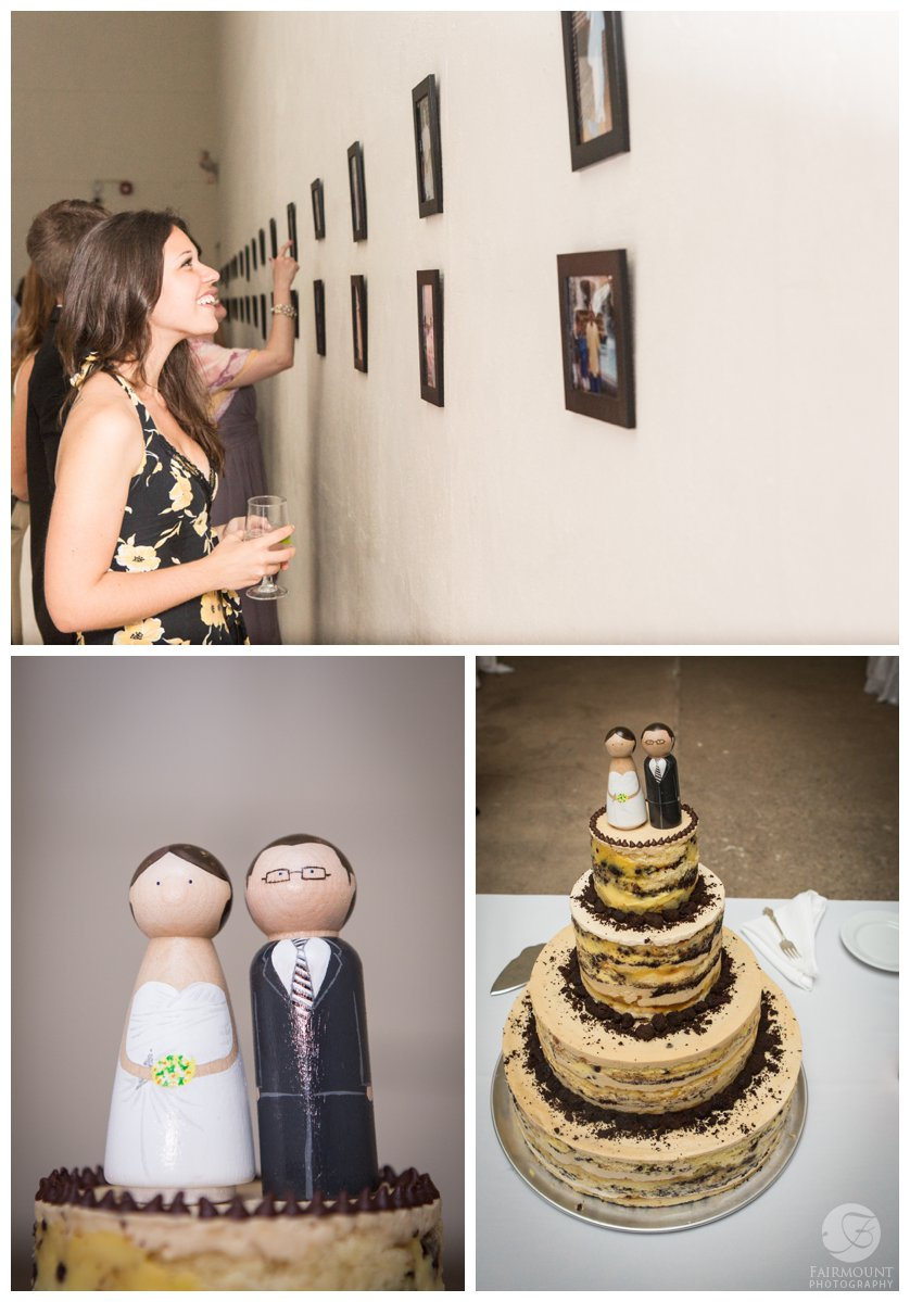 Chocolate Chip cake with handmade wooden bride & groom topper