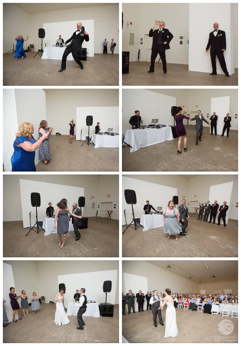 fun bridal party entrance at Crane Arts wedding reception