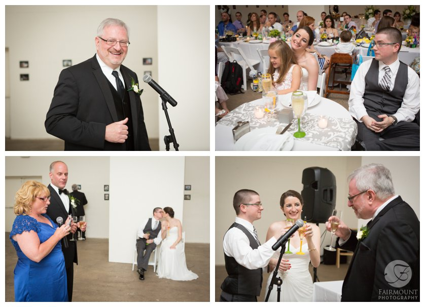 Father of the bride toast, bride & groom hold personalized champagne flutes