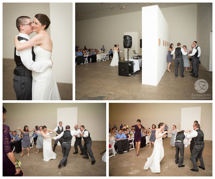 bride & groom dance with bridal party during reception at refurbished factory in North Philadelphia