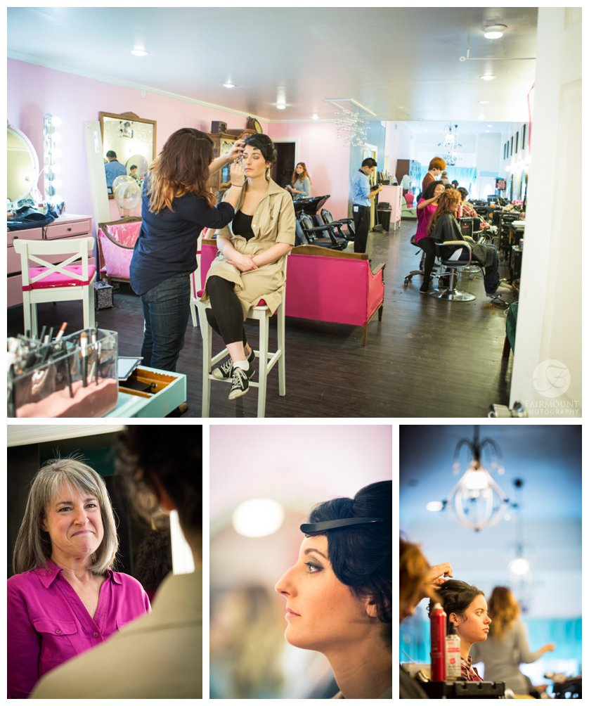 Bride gets hair and make-up at Salon Blush in the Fishtown section of Philadelphia, PA
