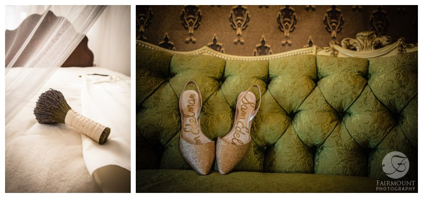 gold wedding shoes on a tufted green sofa, wedding bouquet made of lavender