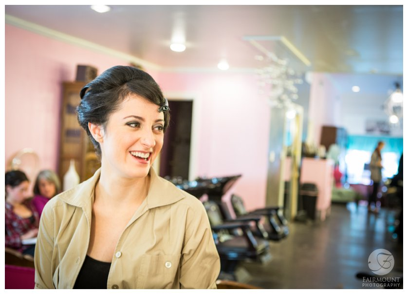 smiling bride at Salon Blush in Philly