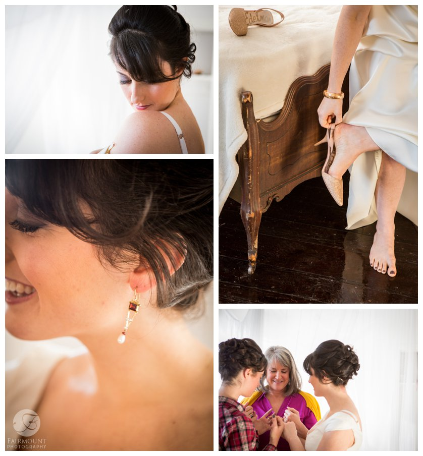 detail shots of bride getting ready in vintage wedding gown
