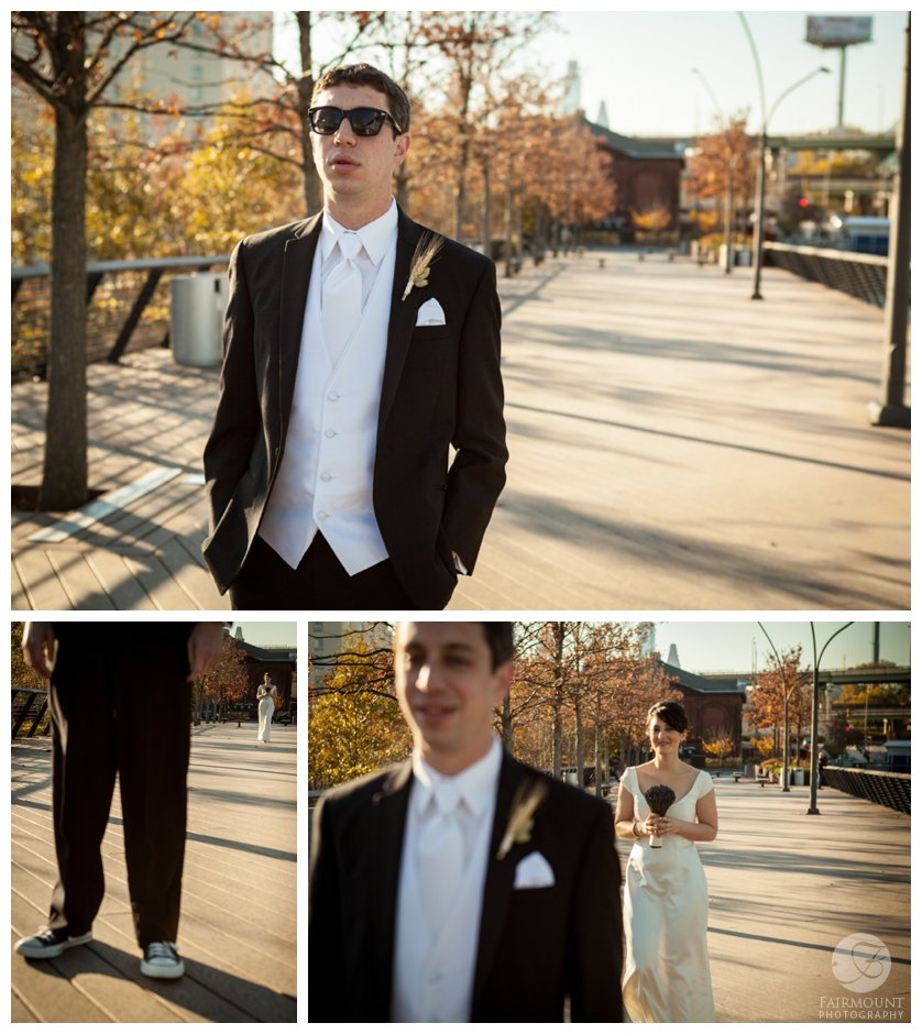 groom waits for bride at Race Street Pier for their first look