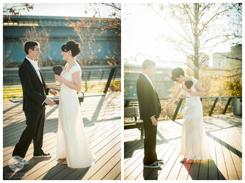 Fall First Look at sunset where bride in vintage dress greets groom on Race Street Pier on Delaware Ave in Philadelphia