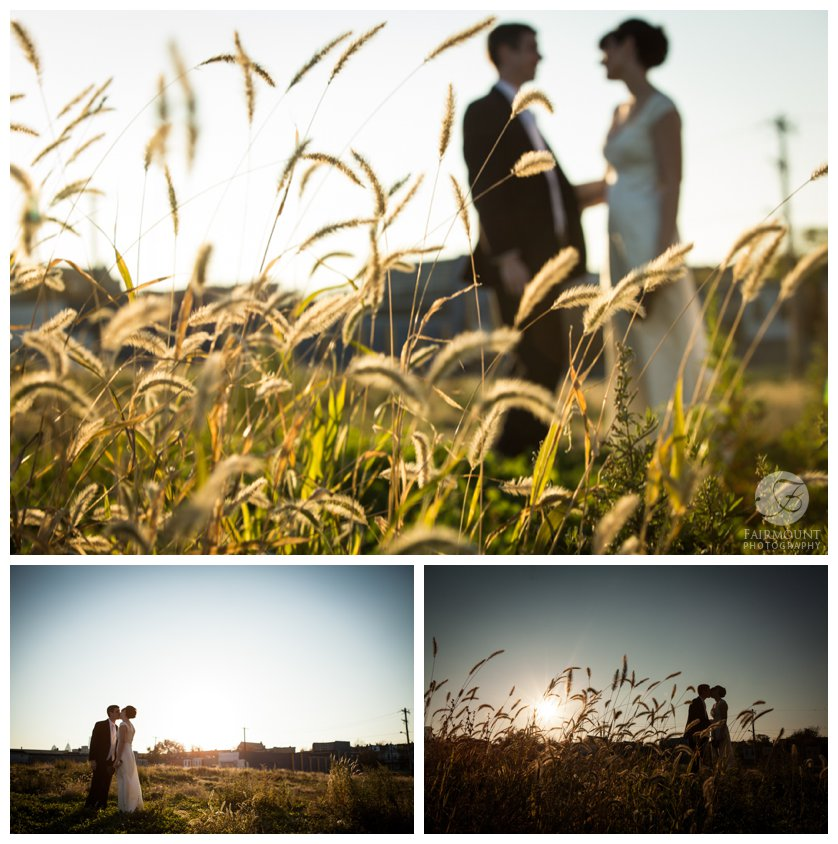 bride and groom in silhouette in field in North Philadelphia