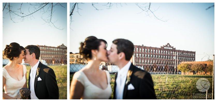 bride & groom in front of Crane Arts center in North Philadephia, PA
