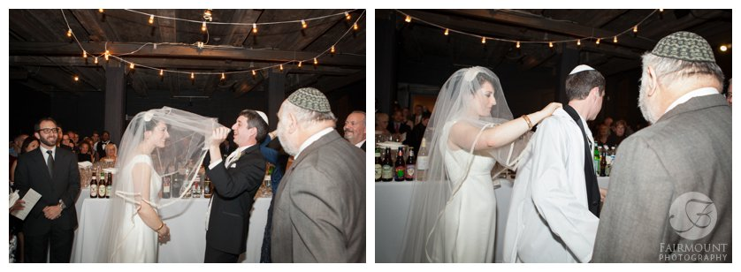 The groom lowers the bride's veil during the bedeken jewish ritual