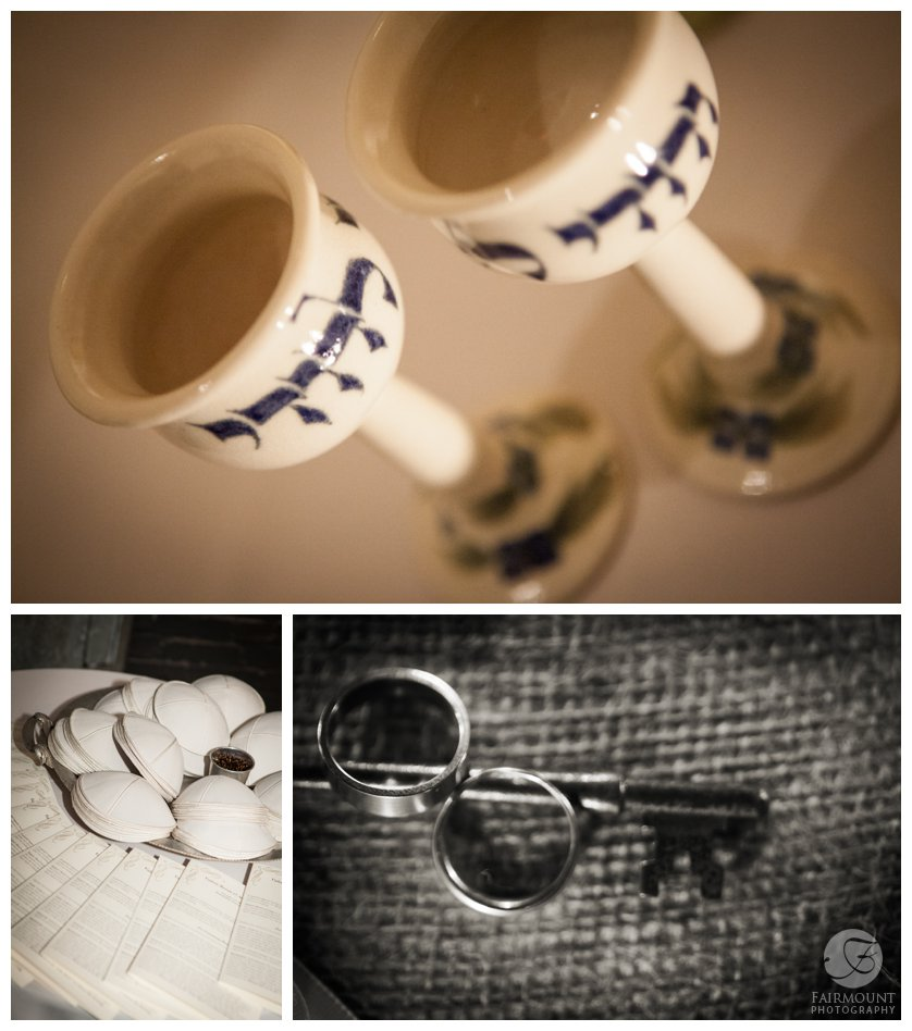 ceramic wine glasses, kippot and wedding rings