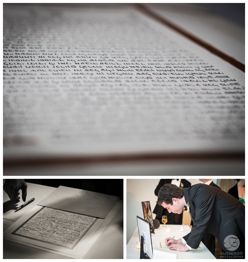 Wedding guests sign Ketubah