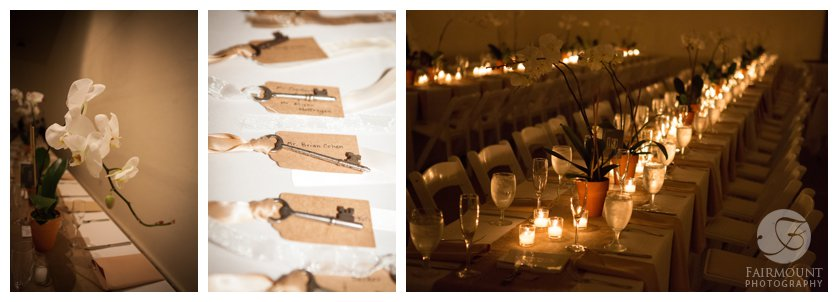 antique key place cards, long rows of tables with orchid centerpieces lit by candles