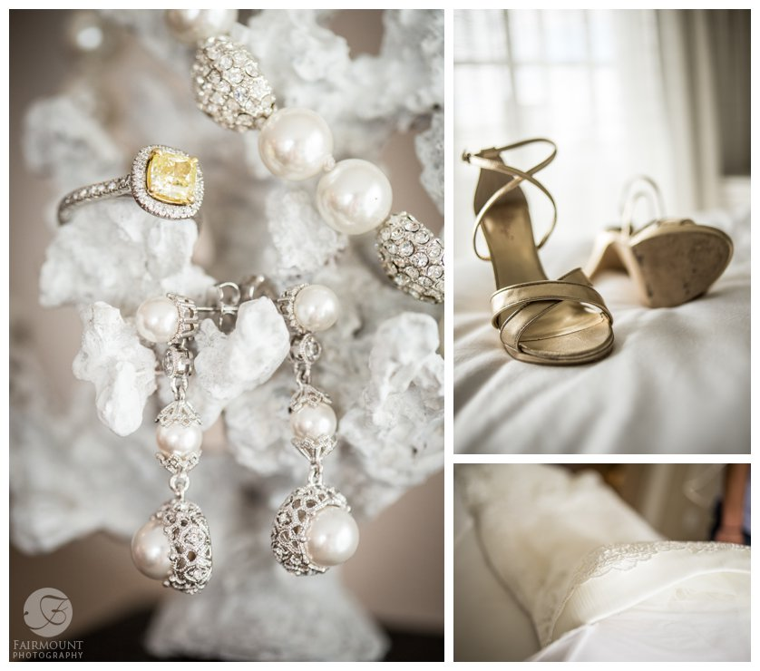 wedding jewelry and gold wedding shoes in the bridal suite at boutique hotel in Stone Harbor