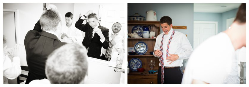groom gets ready for beach wedding in Stone Harbor, NJ