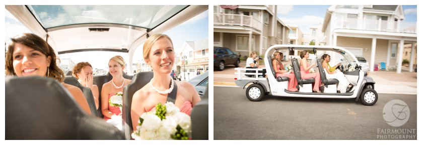 shuttle ride from The Reeds to the beach for portraits