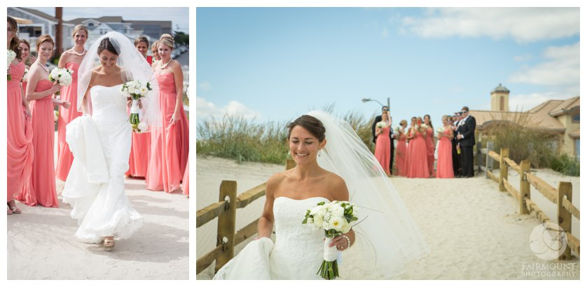 bridal party cheers on bride during first look on the beach in Stone Harbor