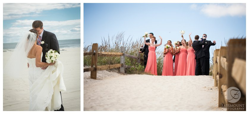 Bridal party cheers on bride & groom during beach first look