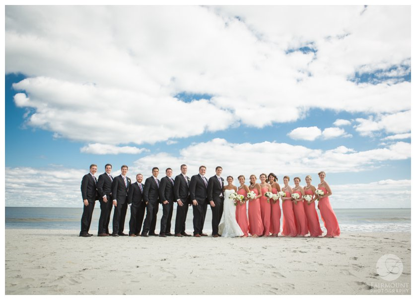 bridal party by the ocean in Stone Harbor