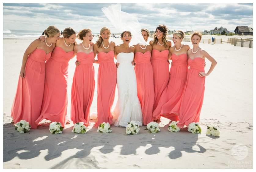 bridesmaids on the beach at September wedding