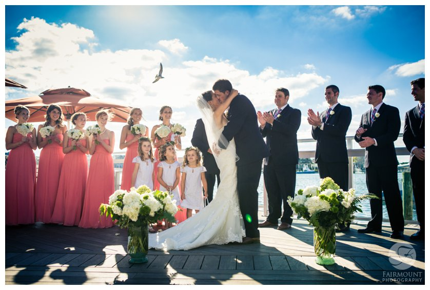 perfect moment at beach wedding at boutique hotel in Stone Harbor