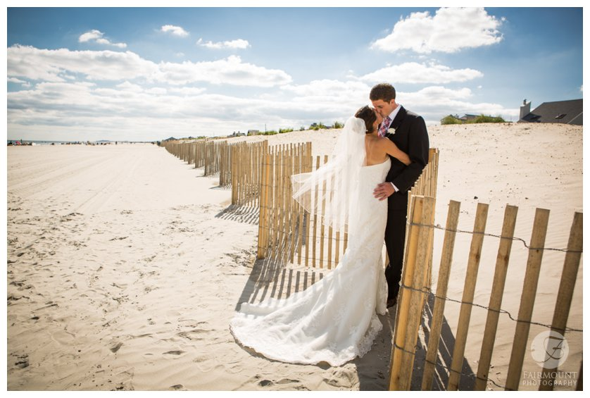 bride & groom portraits by the dunes in Stone Harbor