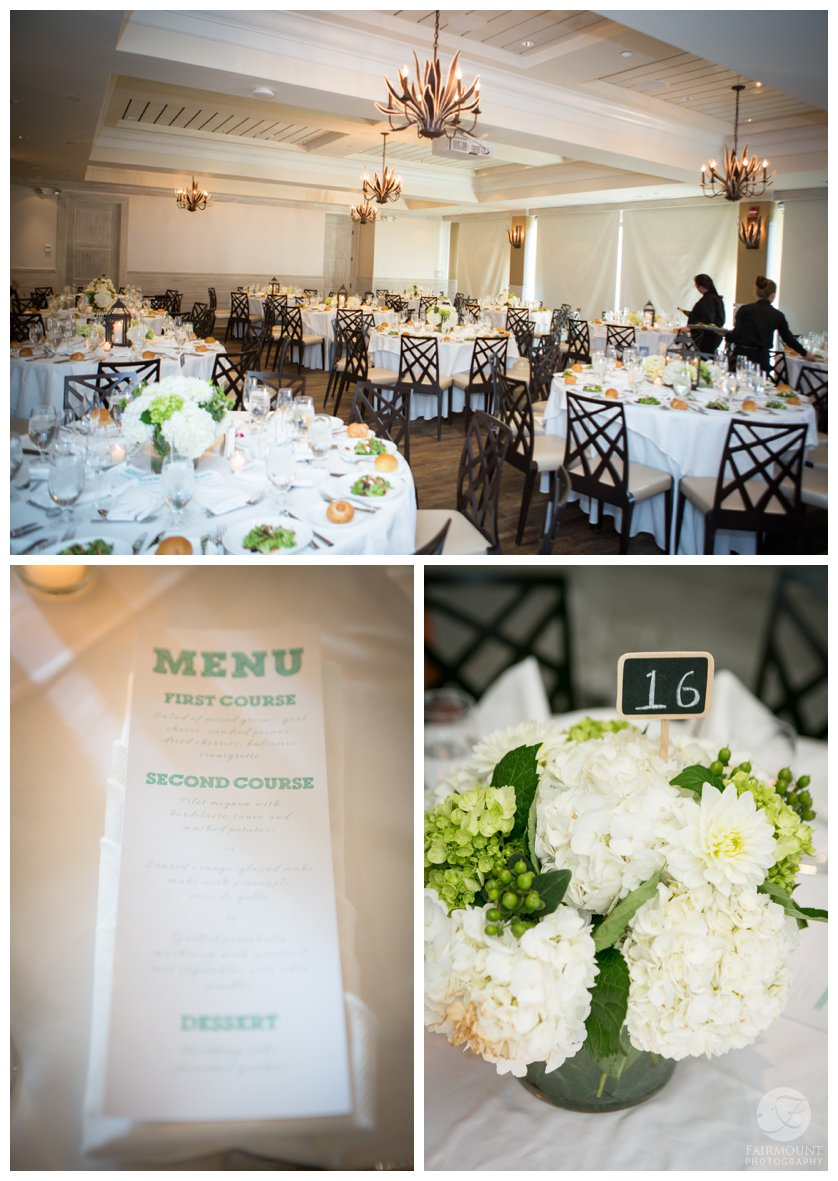 white hydrangea centerpieces for wedding reception in the Sweet Grass Ballroom