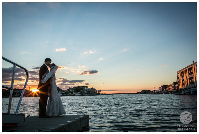 bridal portrait at sunset by the bay in Stone Harbor, NJ