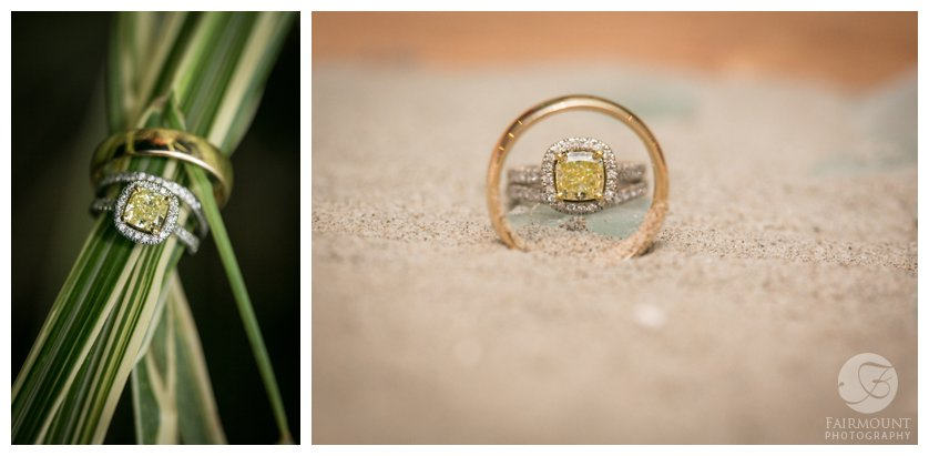 wedding bands in the sand for beach wedding